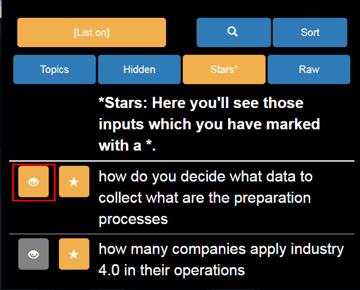 mit einem Klick die ausgewählte Frage anzeigen