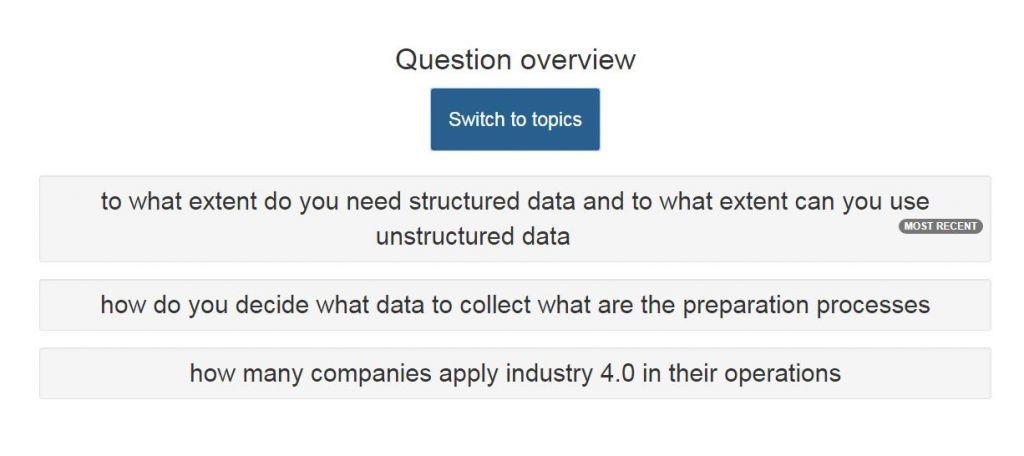 Moderator Panel mit vorausgewählten Fragen