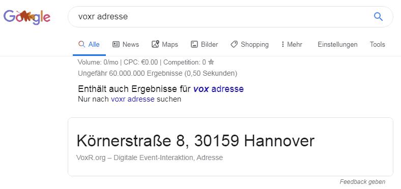 VOXR Adresse bei Google