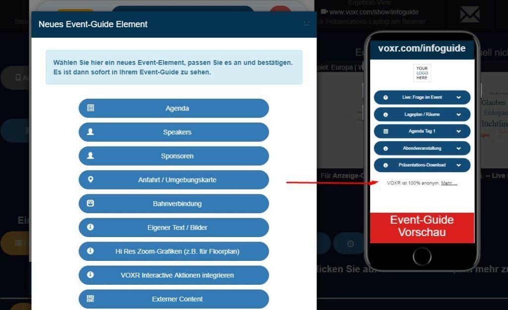 VOXR Info-Guide: ersetzt Event-App